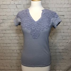 Anthropologie Lilac Lace T-Shirt Comme Toi Top